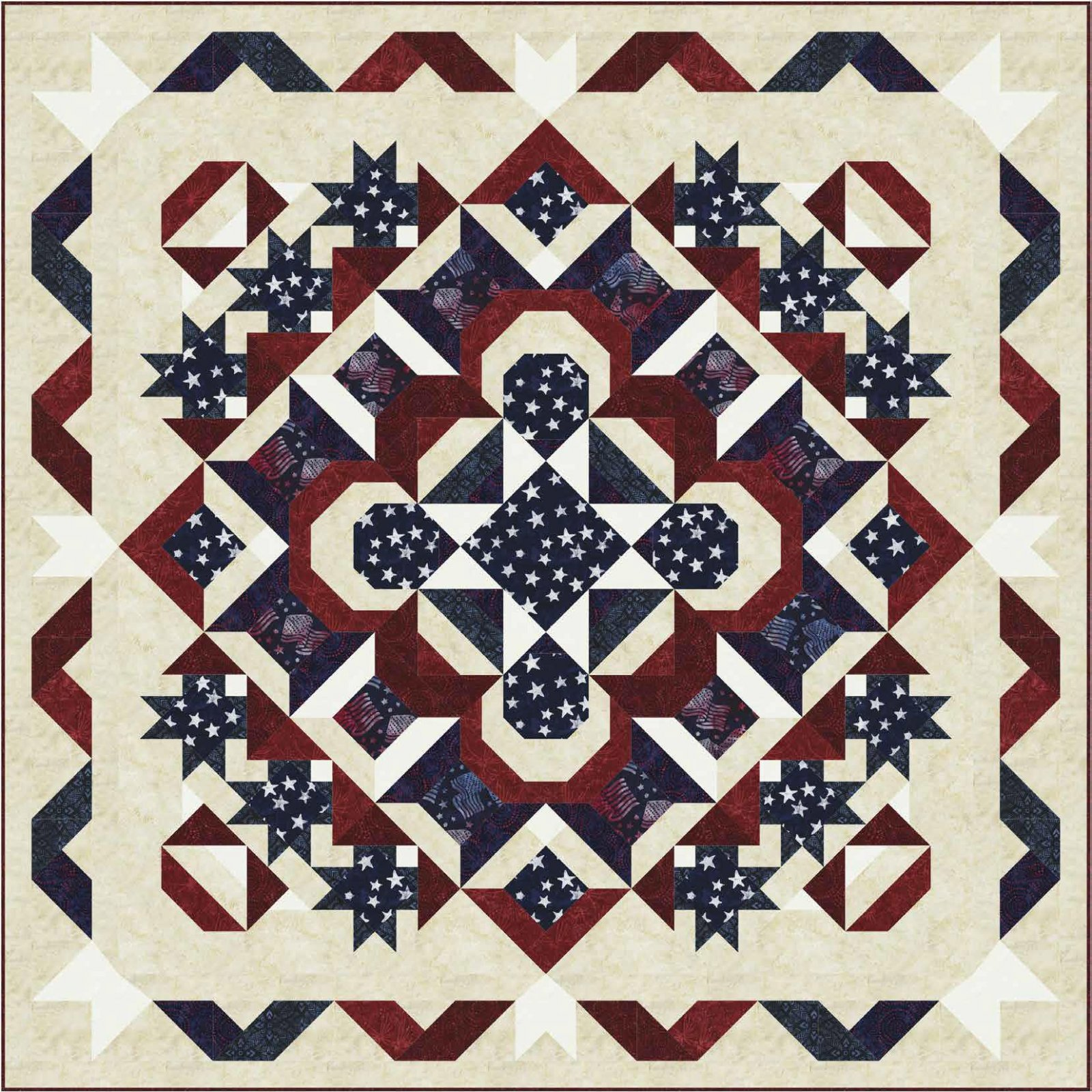 Stellar Starburst Tonga Patriot Batik Quilt Kit