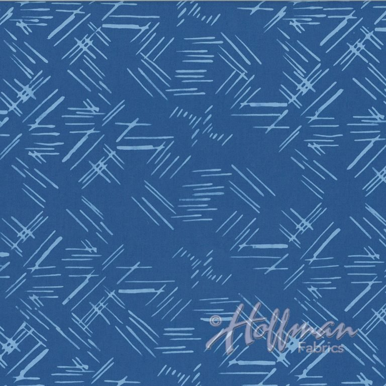 Hand Dyed Batiks - Tossed Lines - Cerulean