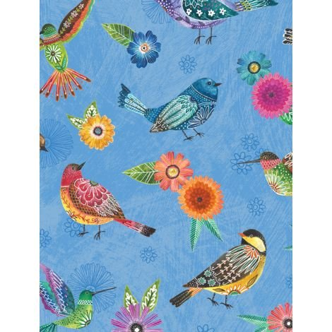 Floral Flight - Birds A/O Blue