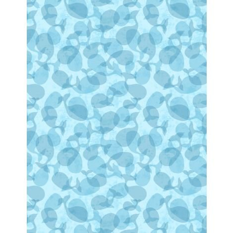 Whaley Loved - Tonal Whales Blue