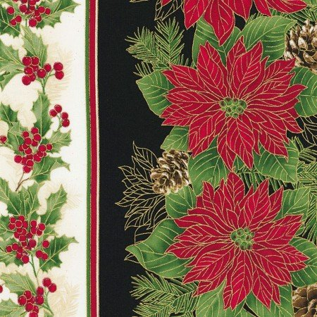 11 Border Print w/Metallic - Poinsettia/Holly