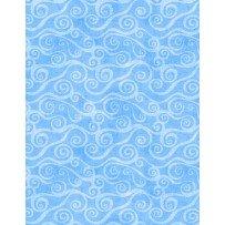 108 Flannel - Swirly Scroll - Blue