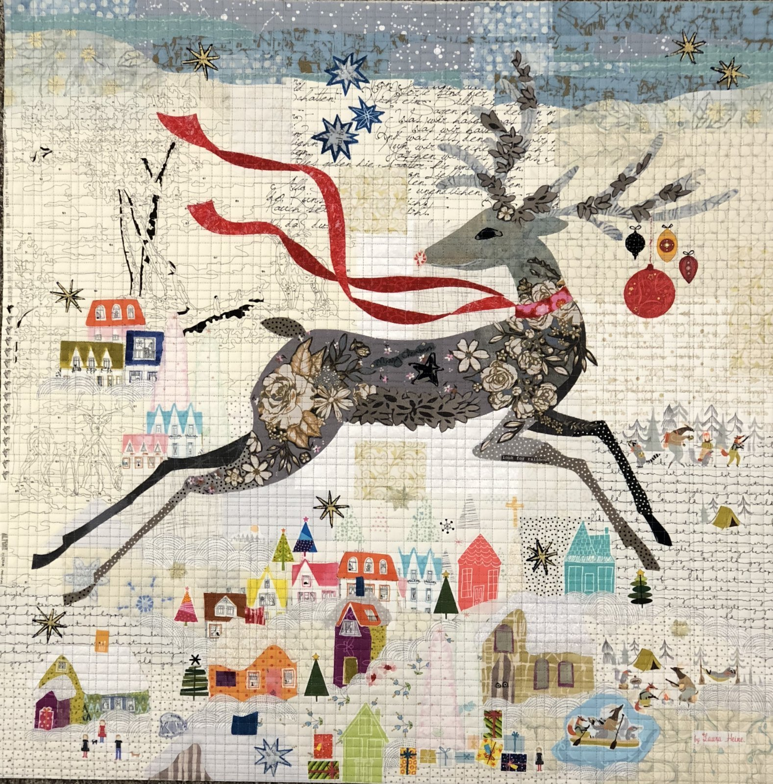 Laura Heine Peppermint Collage Fabric Kit