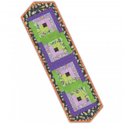 Log Cabin Table Runner Purple/Green Halloween