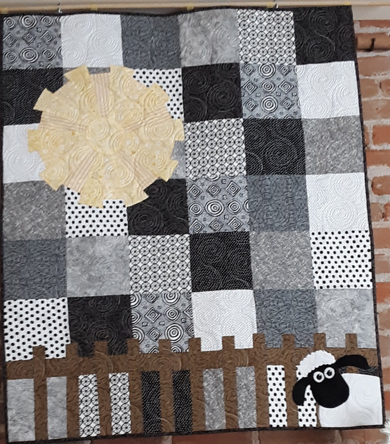 Lamb in the Roses Black & White Quilt Kit