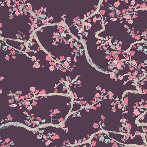 Art Gallery Voile Enchanted Leaves Plum #V-2533