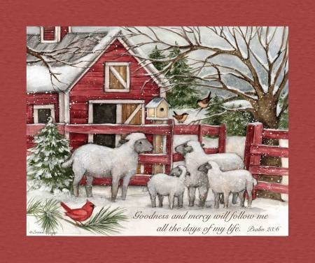 Christmas The Lord is My Sheperd 36in Panel