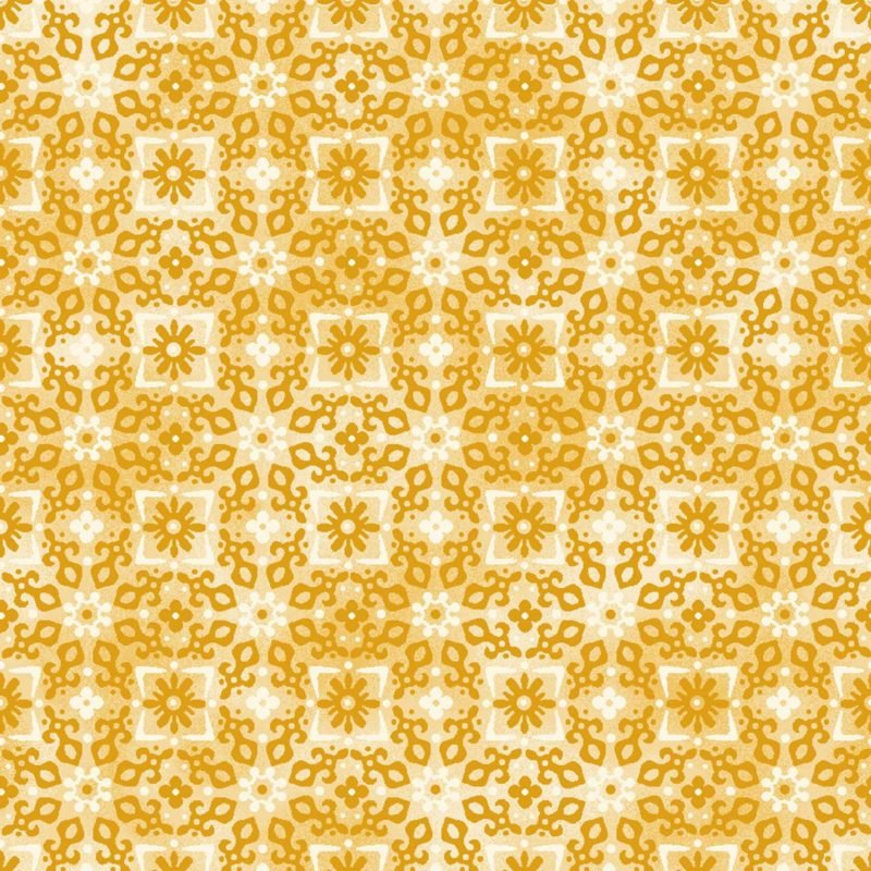 Enchanted Tonal Tonal Flowers in Square Gold