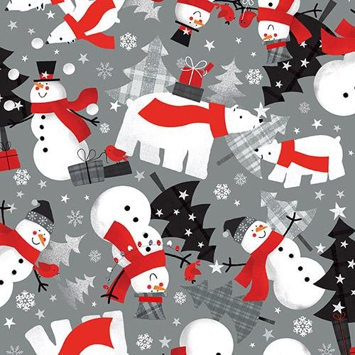 Red + Grey Christmas Grey background with snowman and polar bears