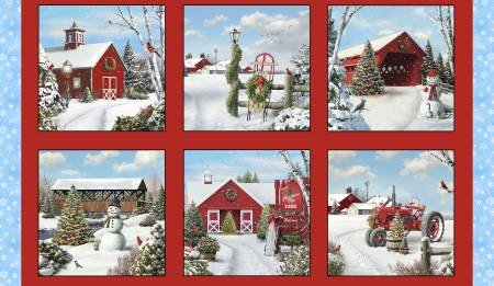Red Tis' the Season 24in Panel, 10-3/4in each block
