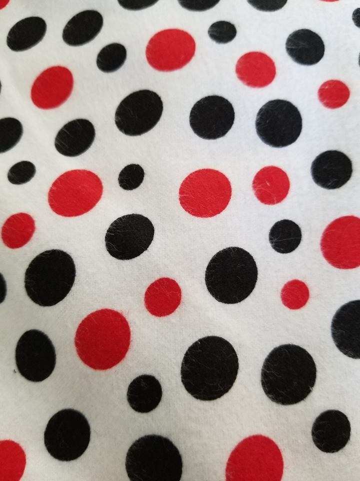 White flannale with red and black polka dots