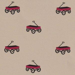 Wagon Fabric: Red Wagons on Khaki Chambray