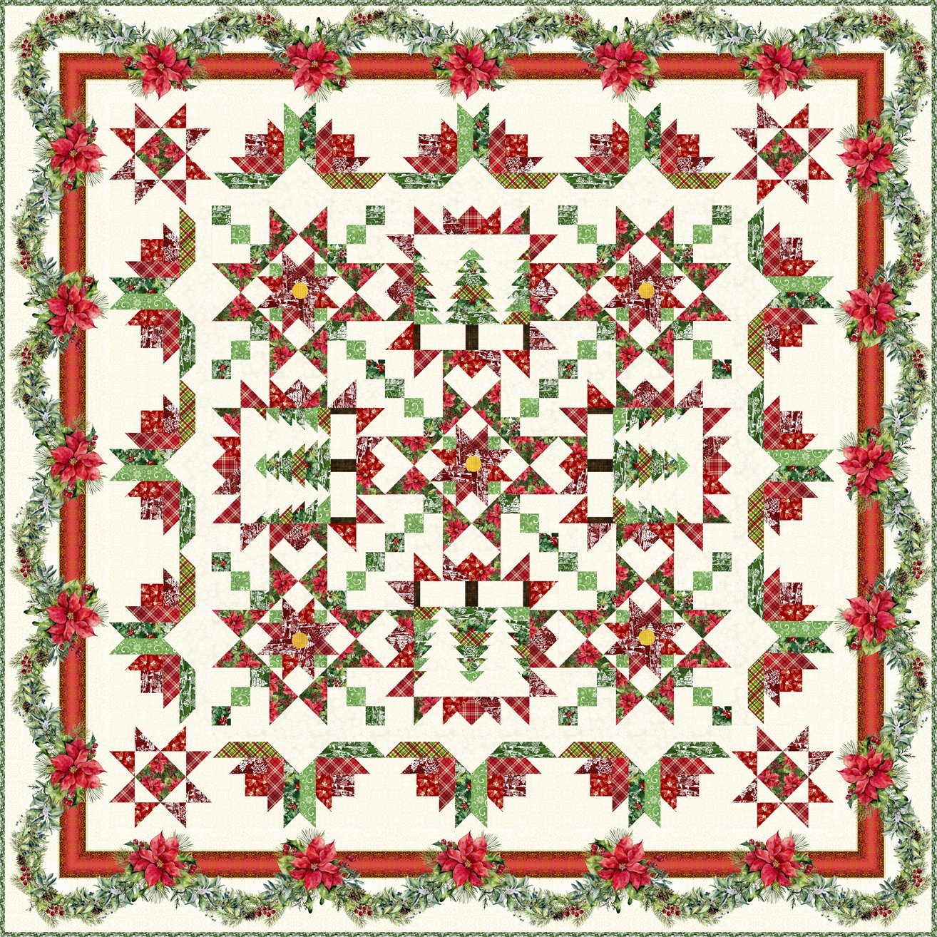 A Poinsettia Winter Quilt KIT