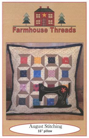 August Stitching Pillow 16 by Farmhouse Threads
