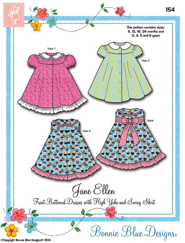 Jane Ellen Sz 6mos.-6yrs by Bonnie Blue Designs