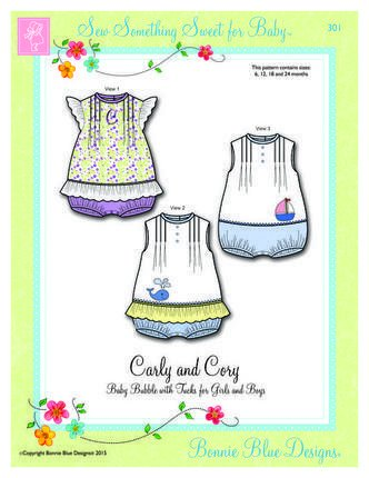 Carly and Cory baby bubble with tucksby Bonnie Bue Designs #301sizes 6m-24m