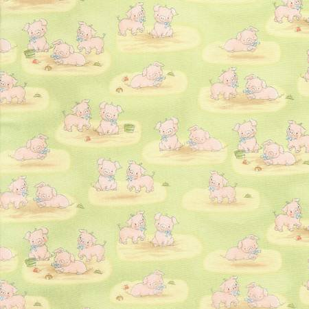 Cotton Tale Farm-Green Pig-Flannel