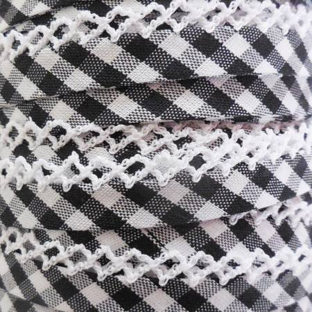 Double Fold Crochet Edge Bias Tape Gingham Black