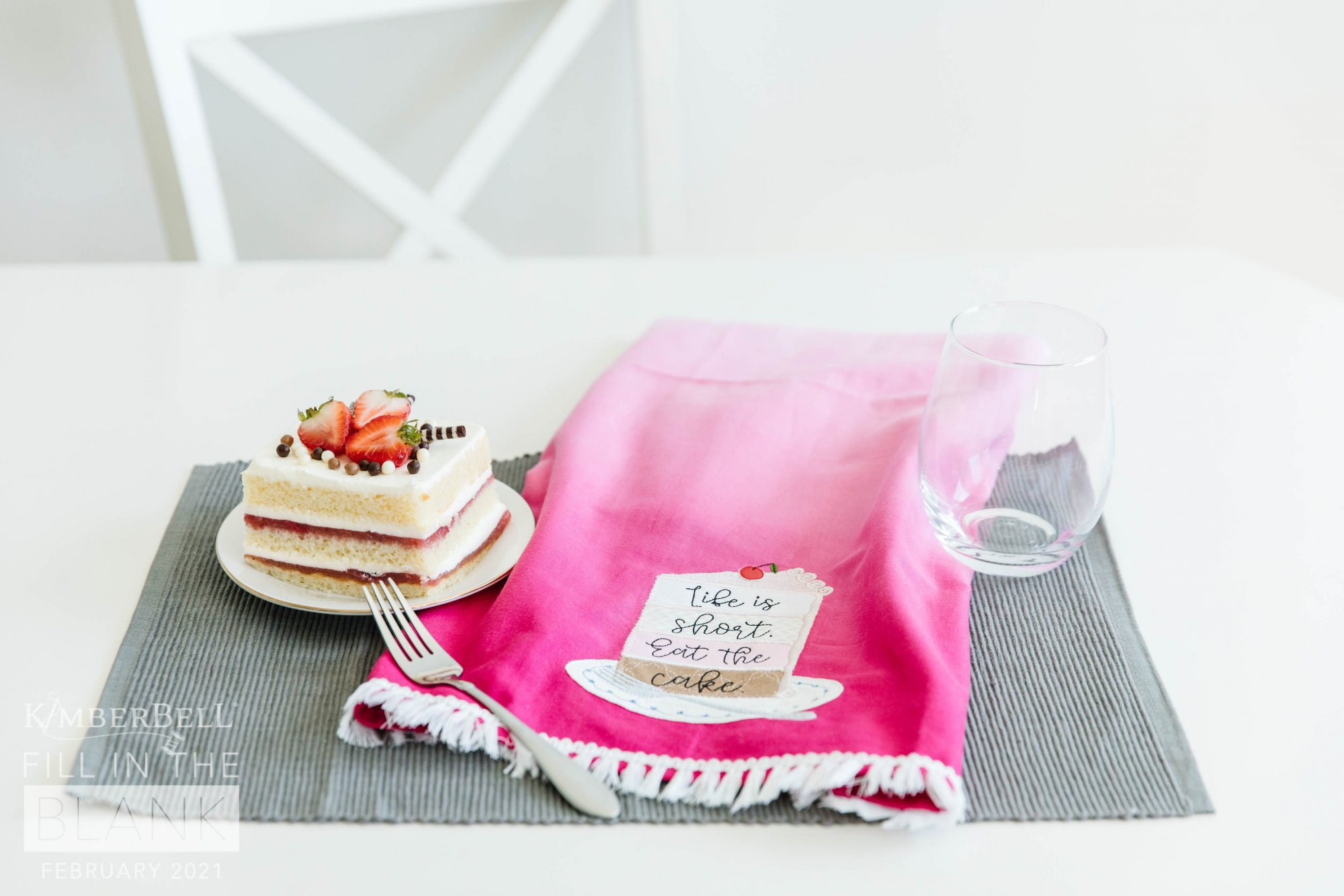 Kimberbell Blank of the Month-  Life is Short Tea Towel Kit