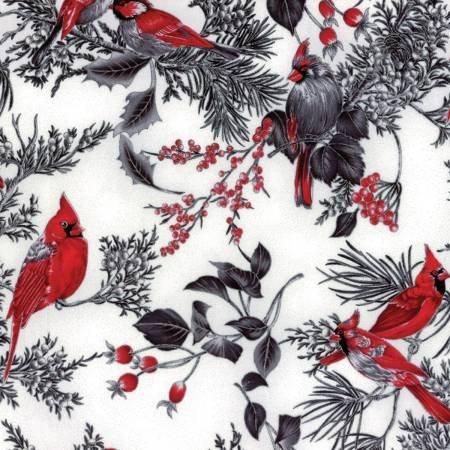 Fog Cardinals on Branches w/Metallic