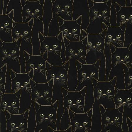 Full Moon-Black Cats with Gold Metallic