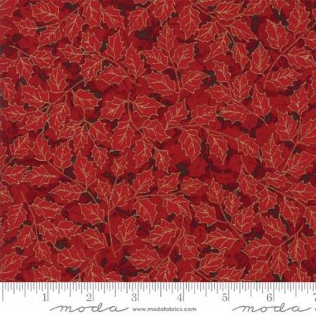 Gilded Greenery-Metallic Holly Leaves-Red Crimson