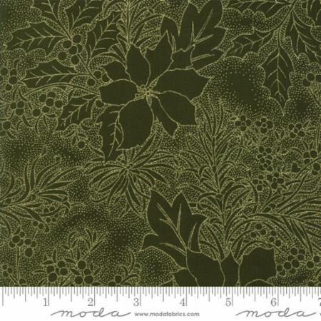 Gilded Greenery-Poinsettia-Metallic-Toile-Evergreen