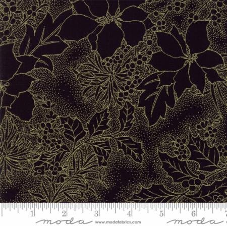 Gilded Greenery-Metallica Poinsettia Toile-Ebony
