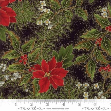 Gilded Greenery-Poinsettia-Holly Black-Ebony