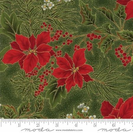 Gilded Greenery-Poinsettia-Holly Dark Evergreen
