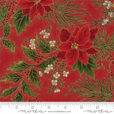 Gilded Greenery-Poinsettia-Holly Red-Crimson
