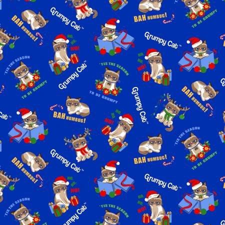 Grumpy Cat Christmas-Blue Allover