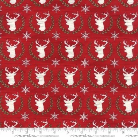 Hearthside Holiday BRUSHED-Laurel Deer-Berry Red