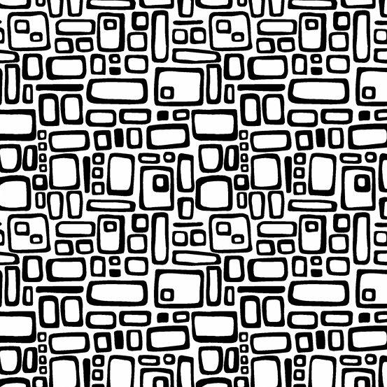 Panda Prints-Rectangles-White