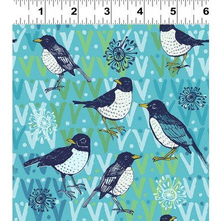 Spring Robins-Medium Toss-Aqua