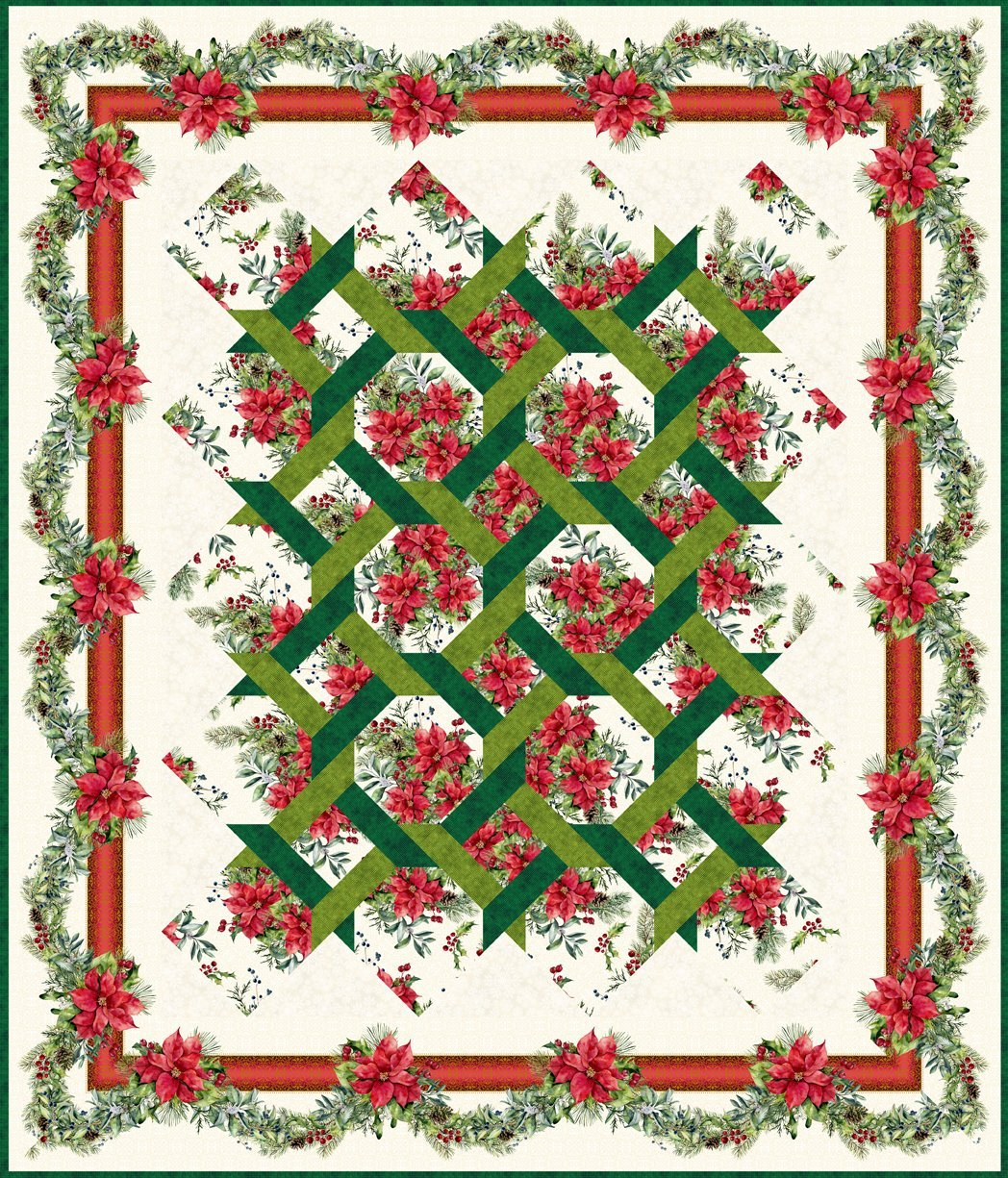 A Poinsettia Winter-The Winter Twist Quilt 2 Patterns