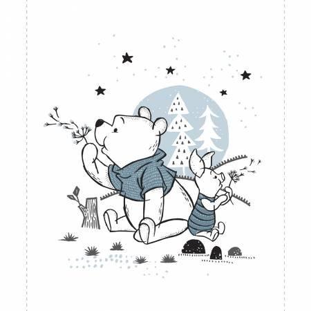 Wonder & Whimsy-Disney Pooh & Piglet Panel 36in x 44in-White