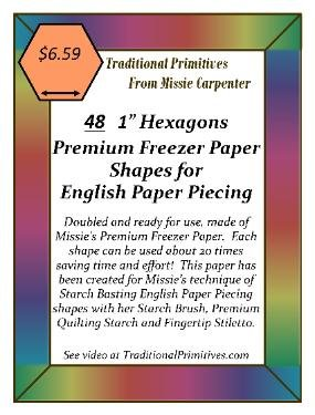 3/4 Premium Freezer Paper Hexagons