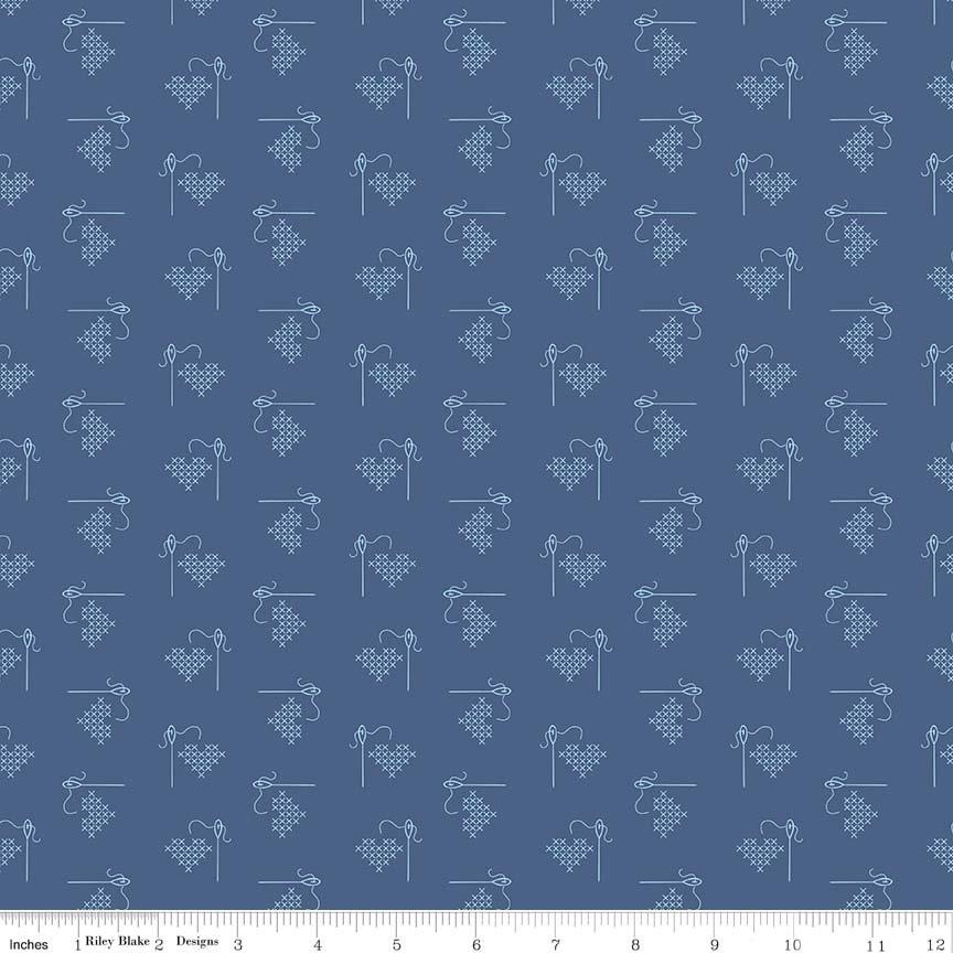 Bee Basics -blue stitch heart