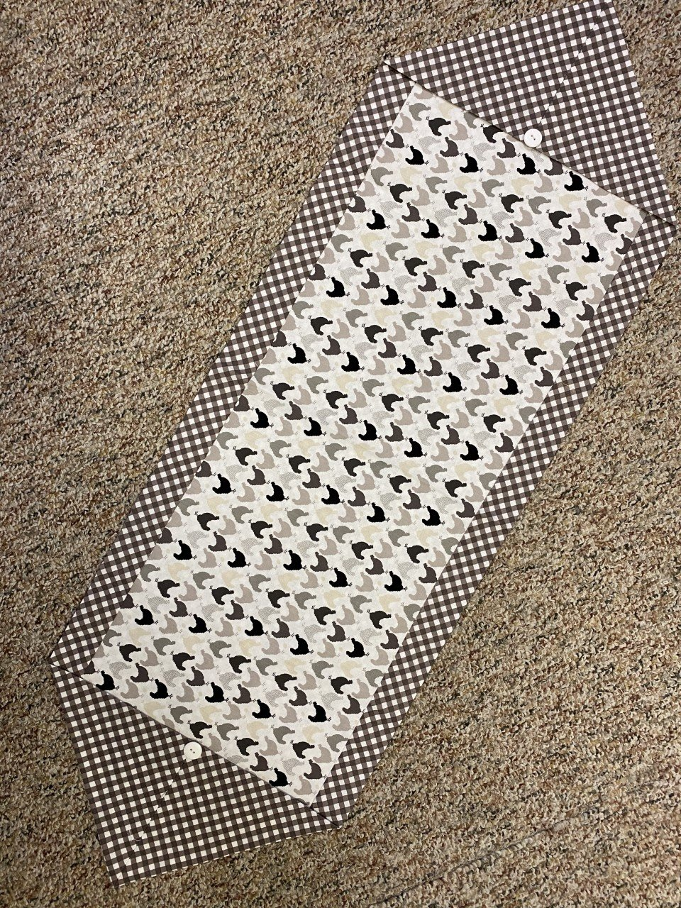Chickens & Gray Check Table Runner 15 x 22