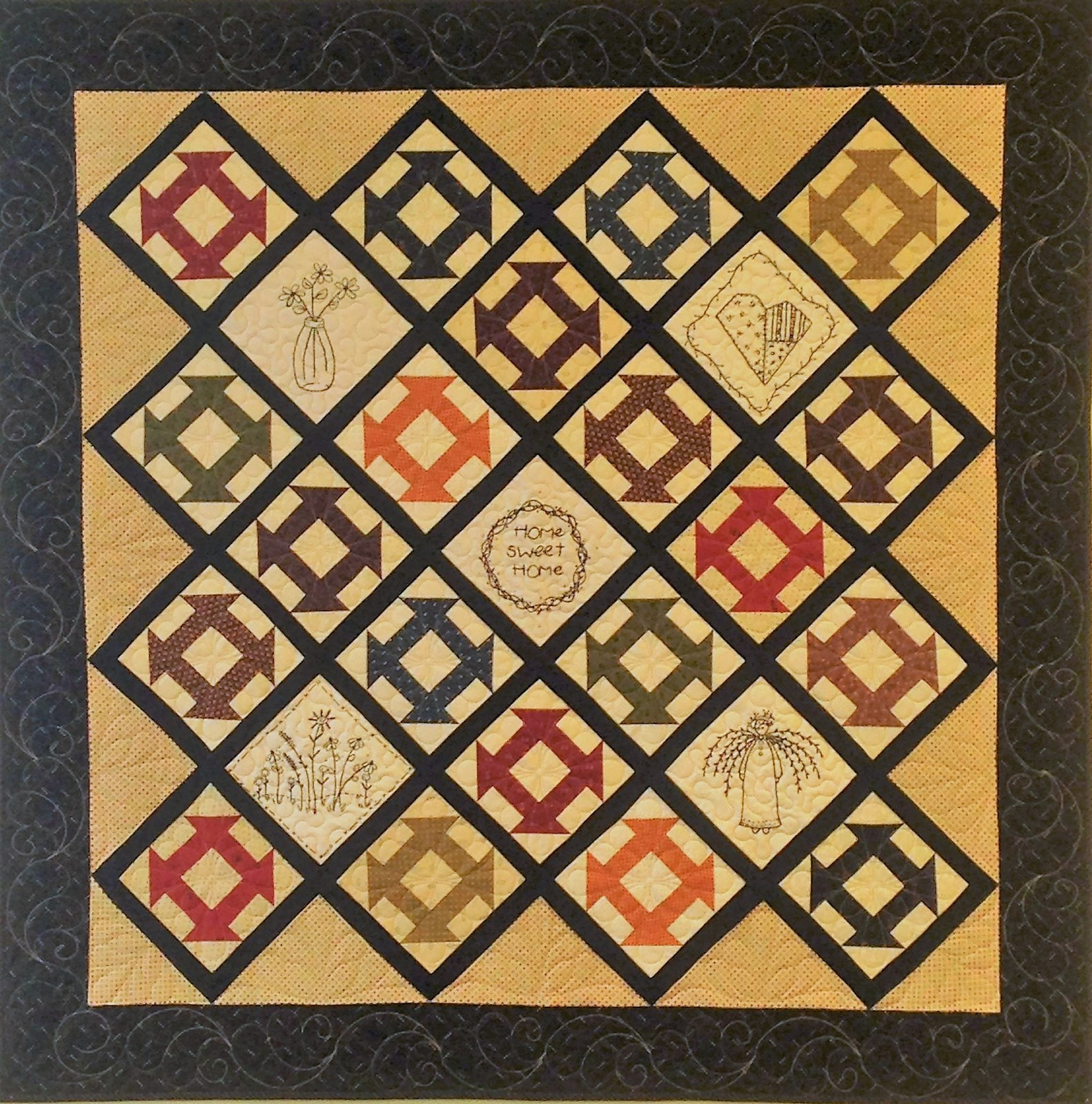 Blooms and Butter Churn Quilt Pattern