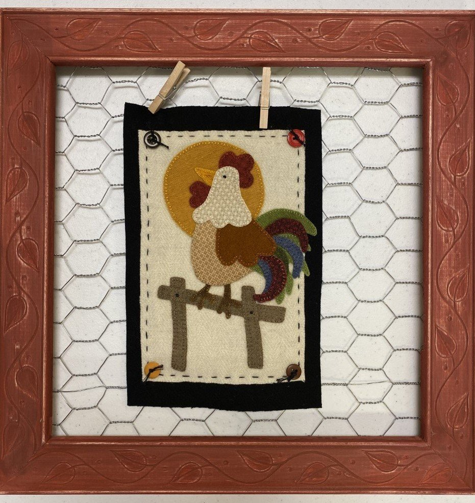 Wool Rooster in Wire Frame