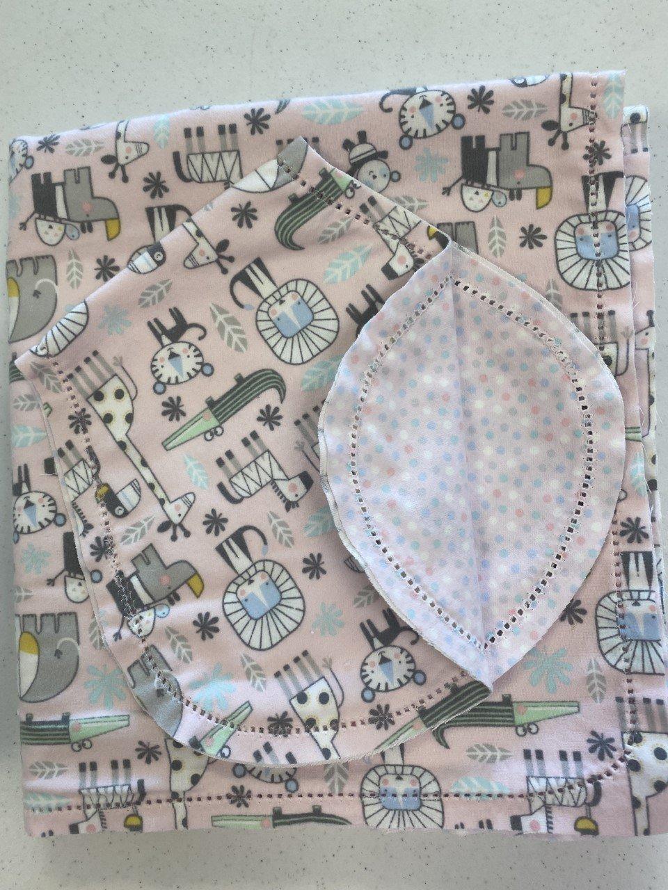 Set Blanket 36 & Burp - Snuggle Animals pink