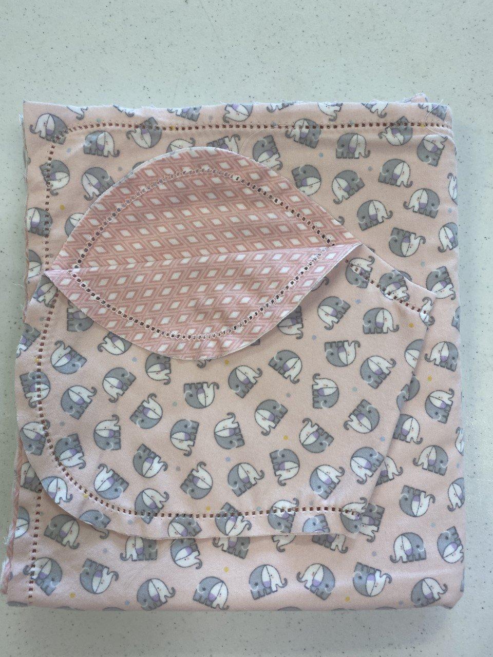 Set Blanket 36 & Burp - Snuggle Elephants pink