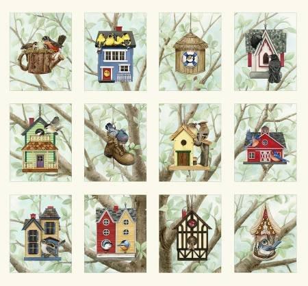 Cream Birds/Houses Panel