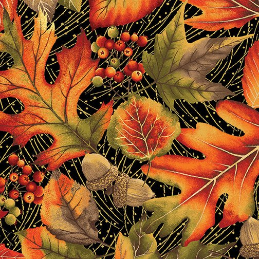 Autumn Leaves Allover Black