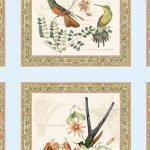 Blue Hummingbirds Panel with 10.5in Blocks w/Metlalic