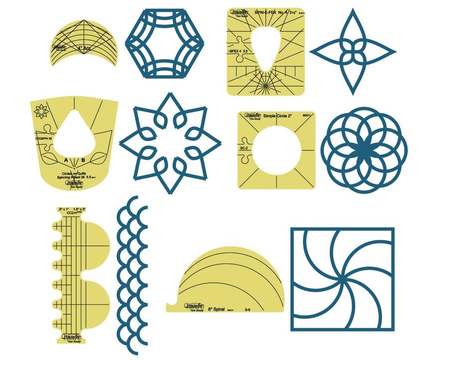 6 Piece Sampler Template Set - Longarm