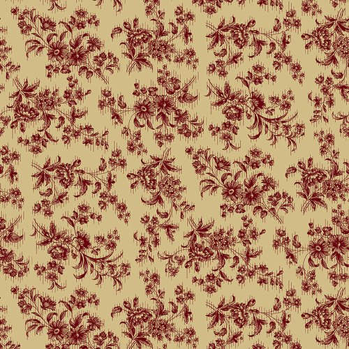 Farmhouse Christmas Beige w/Red Floral by Kim Diehl