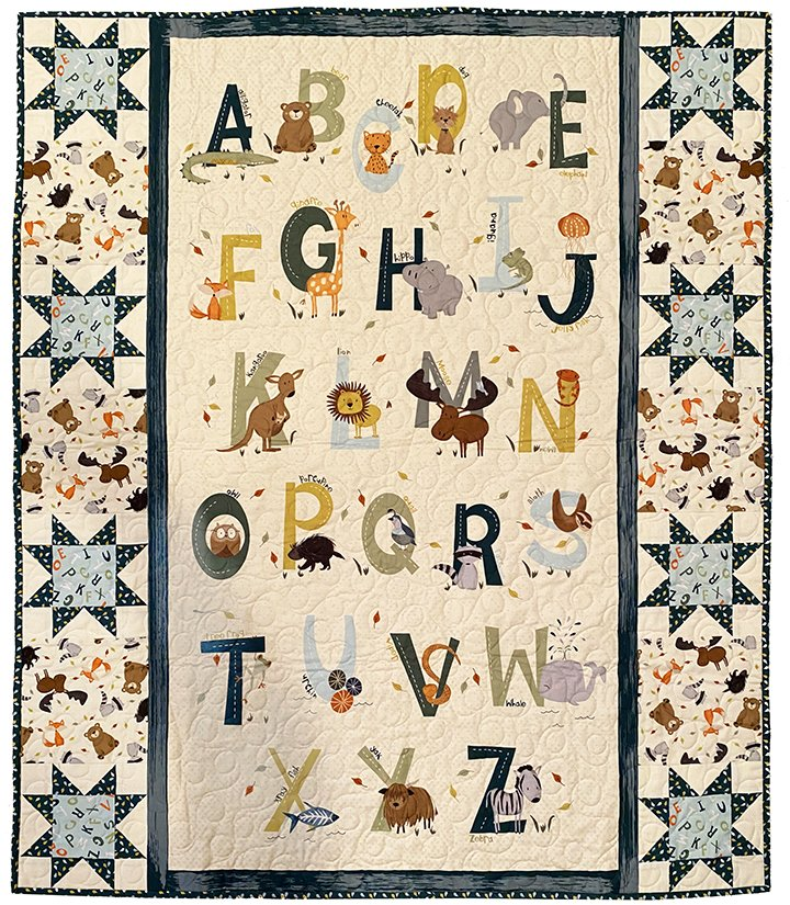 Easy as ABC Animal Quilt Kit - Blue